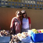 Handing out donated food